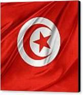 Tunisia Flag Canvas Print by Les Cunliffe