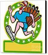 Turkey Run Runner Side Cartoon Canvas Print by Aloysius Patrimonio