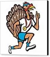 Turkey Run Runner Thumb Up Cartoon Canvas Print by Aloysius Patrimonio