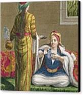 Turkish Girl, Having Coffee Canvas Print by Jean-Baptiste Haussard