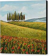 Tuscan Field With Poppies Canvas Print by Melinda Saminski