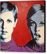 Twiggy Two Face Canvas Print by Grant  Swinney