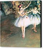Two Dancers On A Stage Canvas Print by Edgar Degas