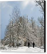 Two People Doing A Walk In Beautiful Forest In Winter Canvas Print by Matthias Hauser