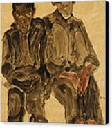 Two Seated Boys Canvas Print by Egon Schiele