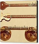 Two Sitars And A Rudra Vina, Indian Canvas Print by Alfred James Hipkins