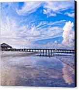 Tybee Island Pier On A Beautiful Afternoon Canvas Print by Mark E Tisdale