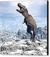 Tyrannosaurus Rex Dinosaur In A Snowy Canvas Print by Elena Duvernay