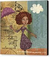 Umbrella Girl Canvas Print by Karyn Lewis Bonfiglio