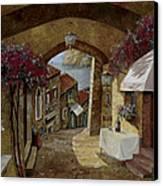 Un Bicchiere Sotto Il Lampione Canvas Print by Guido Borelli