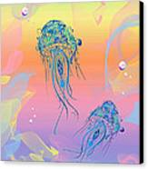 Under The Sea Jelly Fish Canvas Print by Cheryl Young