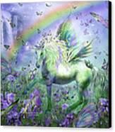 Unicorn Of The Butterflies Canvas Print by Carol Cavalaris