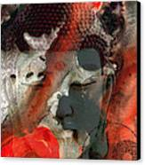 Universal Qi - Zen Black And Red Art Canvas Print by Sharon Cummings