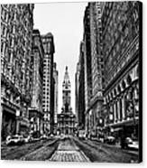 Urban Canyon - Philadelphia City Hall Canvas Print by Bill Cannon