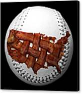 Us Bacon Weave Map Baseball Square Canvas Print by Andee Design