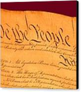 Us Constitution Closeup Violet Red Bacjground Canvas Print by L Brown