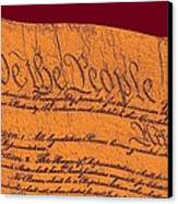 Us Constitution Closeup Sculpture Violet Red Background Canvas Print by L Brown