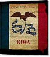 Usa American Iowa State Map Outline With Grunge Effect Flag And  Canvas Print by Matthew Gibson