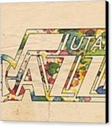 Utah Jazz Retro Poster Canvas Print by Florian Rodarte