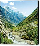 Valley Of River Ganga In Himalyas Mountain Canvas Print by Raimond Klavins