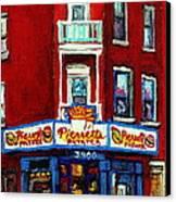 Verdun Landmarks Pierrette Patates Resto Cafe  Deli Hot Dog Joint- Historic Marquees -montreal Scene Canvas Print by Carole Spandau
