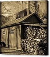 Vermont Maple Sugar Shack Circa 1954 Canvas Print by Edward Fielding