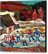 Vermont Pond Hockey Scene Canvas Print by Carole Spandau