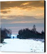 Vibrant Winter Sunrise Landscape Over Snow Covered Countryside Canvas Print by Matthew Gibson