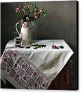 Victorian Style Still Life With Pink Roses Canvas Print by Helen Tatulyan