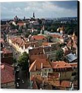 View From Above Of Old Town Tallinn  Estonia Canvas Print by Cliff Wassmann