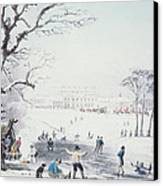View Of Buckingham House And St James Park In The Winter Canvas Print by John Burnet