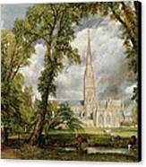 View Of Salisbury Cathedral From The Bishop's Grounds Canvas Print by John Constable
