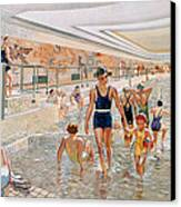 View Of The First Class Swimming Pool Canvas Print by French School