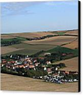 Village In A French Landscape  Canvas Print by Aidan Moran