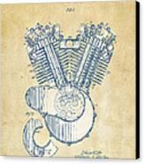 Vintage 1923 Harley Engine Patent Artwork Canvas Print by Nikki Marie Smith