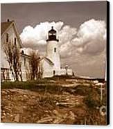 Vintage Pemaquid Point Lighthose Canvas Print by Skip Willits
