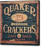 Vintage Quaker Crackers For The Kitchen Canvas Print by Lisa Russo