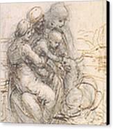 Virgin And Child With St. Anne Canvas Print by Leonardo da Vinci