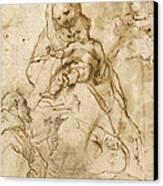 Virgin And Child With St. Francis Canvas Print by Federico Fiori Barocci or Baroccio
