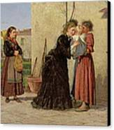 Visiting The Wet Nurse Canvas Print by Silvestro Lega