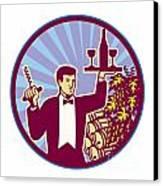 Waiter Serving Wine Glass Bottle Retro Canvas Print by Aloysius Patrimonio