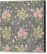 Wallpaper Design With Tulips Daisies And Honeysuckle  Canvas Print by William Morris