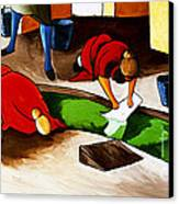 Washing Clothes At Canal Canvas Print by William Cain
