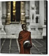 Wat Bencha Monk Canvas Print by David Longstreath