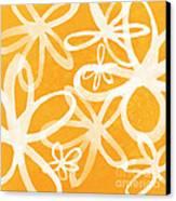 Waterflowers- Orange And White Canvas Print by Linda Woods