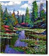 Waterlily Lake Reflections Canvas Print by David Lloyd Glover