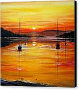 Watery Sunset At Bala Lake Canvas Print by Andrew Read