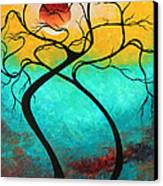 Whimsical Abstract Tree Landscape With Moon Twisting Love IIi By Megan Duncanson Canvas Print by Megan Duncanson