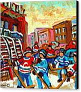 Whimsical Hockey Art Snow Day In Montreal Winter Urban Landscape City Scene Painting Carole Spandau Canvas Print by Carole Spandau