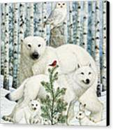 White Animals Red Bird Canvas Print by Lynn Bywaters